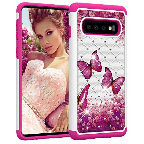 Berry Accessory Galaxy S10 Case,Samsung S10 Luxury Glitter Sparkle Bling Case,Studded Rhinestone Crystal Hybrid Dual Layer Armor Protection Case for Samsung Galaxy S10 Pink Butterly -