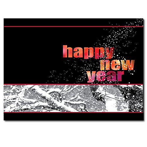 "New Year Greeting Card N1003. Say ""thank you for your support"" to friends and associates, as well as wish them a Happy New Year. Red foil-lined envelopes."
