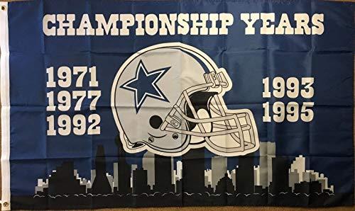 Dallas Cowboys Super Bowl Championship Year Flag 3x5 1971, 1977,1992, 1993, - Cowboys Bowl Super 1992 Dallas