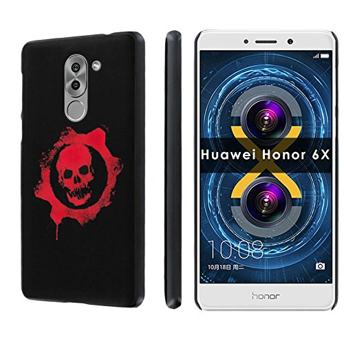 Huawei Honor 6X Phone Case [SlickCandy] [Black] Ultra Slim Cover - [Skull Emblem] for Huawei Honor 6X