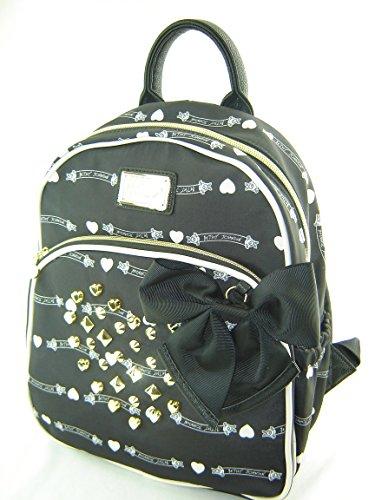 Betsey Johnson Mini Backpack Handbag Purse Banner Stud Black