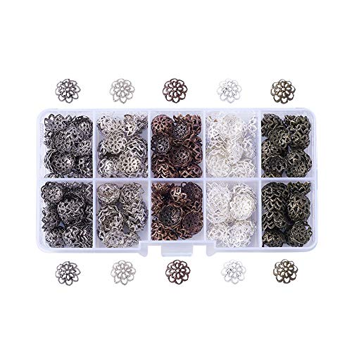 Pandahall 1Box/500 5 Colors Iron Filigree Flower Bead Caps Floral End Caps 6mm Diameter for Jewelry Making with a White Container for $<!--$7.98-->