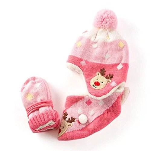 d Printed Hat/Scarf/Glove Knitted Accessory Set for Kids(27022-Pink-L) ()