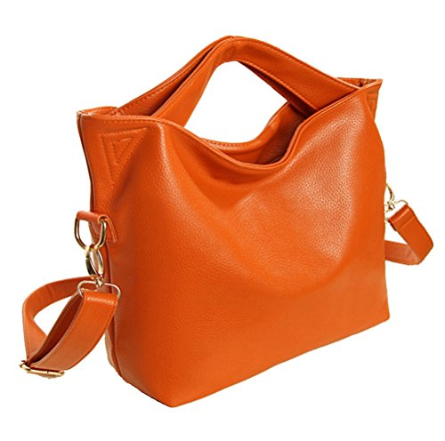 Classical Shoulder Soft Womens Hobo Handbag Tote Top Leather Blue TM Satchel Red Orange handle Faux qTw17Ct4