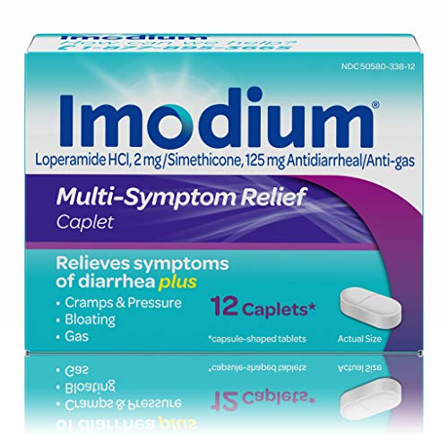 Imodium Multi-Symptom Caplets for Diarrhea Relief with Gas, Bloating & Cramps, 12 ct. (Best Over The Counter Gas And Bloating Medicine)