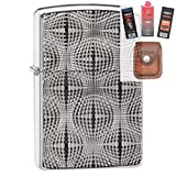 Zippo 28835 Armor Globe Pattern Lighter + Fuel Flint Wick Pouch Gift Set