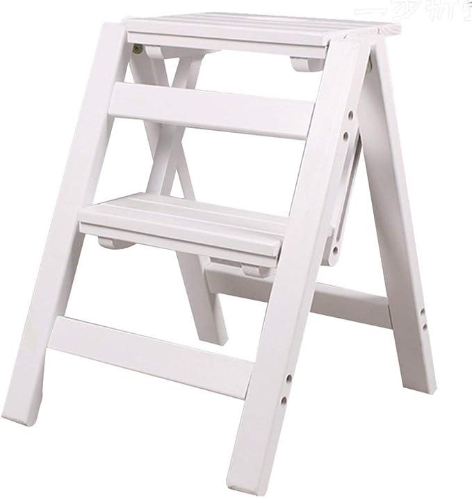 Nevy- Taburete De Paso Silla Estante Escalera De Madera Plegable, 2 Pasos, Doble Uso 3 Colores para Elegir (Color : Blanco): Amazon.es: Hogar