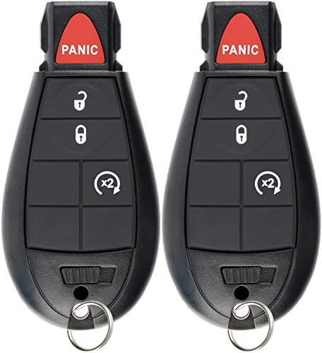 Caravan Keyless Entry Remote - KeylessOption Keyless Entry Remote Control Car Key Fob Starter Alarm for Chrysler Dodge Jeep (Pack of 2)