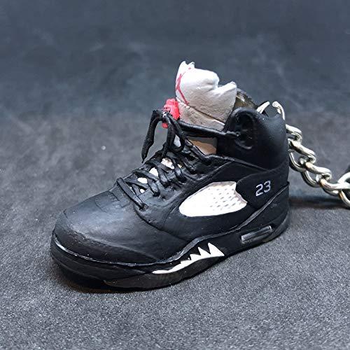 Air Jordan V 5 Retro Black Metallic Silver 23 OG Sneakers Shoes 3D Keychain Figure (Air Jordan Retro 5 Metallic)