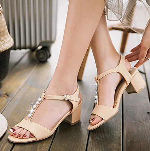 Aisun Women's Comfy Ankle Strap Beads Sandals Shoes Beige 8zF3iO