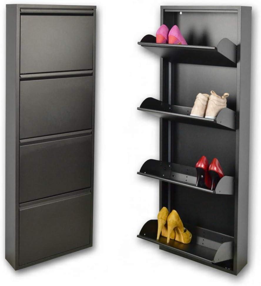 Zapatero metálico estrecho slim magik para 12 pares de zapatos en color, color negro