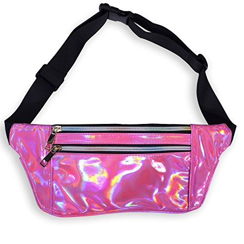 (LEADO Holographic Fanny Pack for Women, Flat Fashion Waist Pack Bum Bag for Running, Festival, Rave, Party, Travel (Holographic Rose))