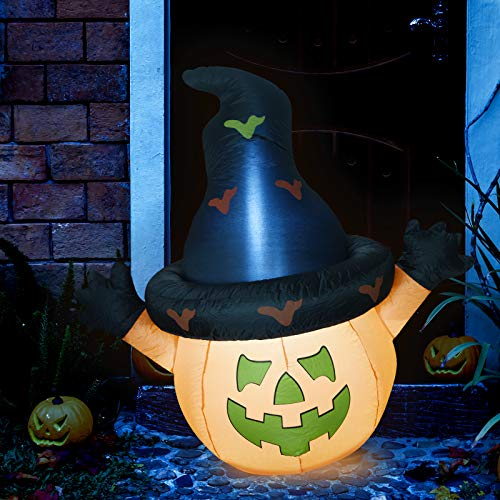 Sunlit Halloween Inflatable Pumpkin with Hat Yard Decoration 4.5 feet with Blower and Adapter, Lighted for Home Yard Garden Indoor Porch Outdoor Decoration Halloween Party, Trick or Treat Night (Pumpkin Decorations Outdoor)