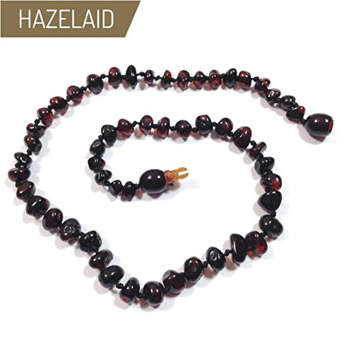 Hazelaid (TM) 14'' Pop-Clasp Baltic Amber Dark Cherry Necklace by Hazelaid
