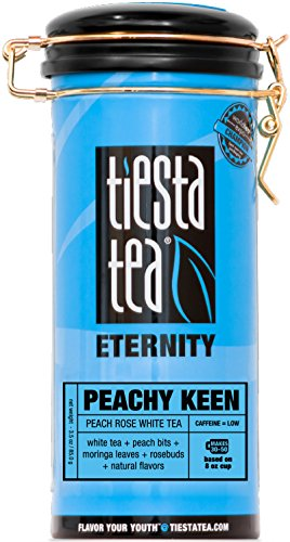 Tiesta Tea Peachy Keen, Peach Rose White Tea, 50 Servings, 3 Ounce Tin, Low Caffeine, Loose Leaf White Tea Eternity Blend, Non-GMO