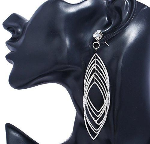Long Dangle Stud Earring Women Girl Fashion Jewelry Drop Diamond Cut Layered Tiered Leaf