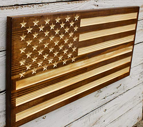 (Rustic Flag Wall Art Carved Wood American Flag)