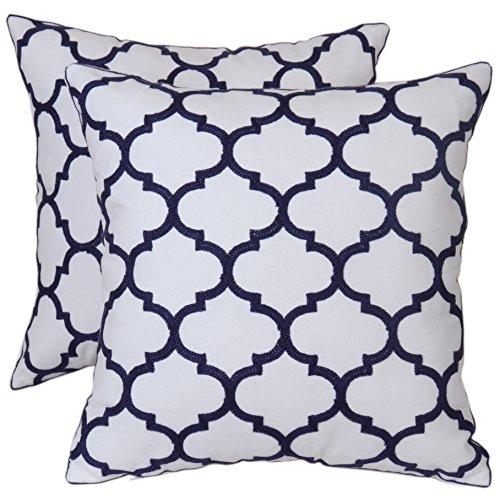 Bridgeso Minimalist Throw Pillow Cover Pillowcase Cotton Linen Blend Trellis Chain Quatrefoil Pattern Embroidered Cushion Shell, 18