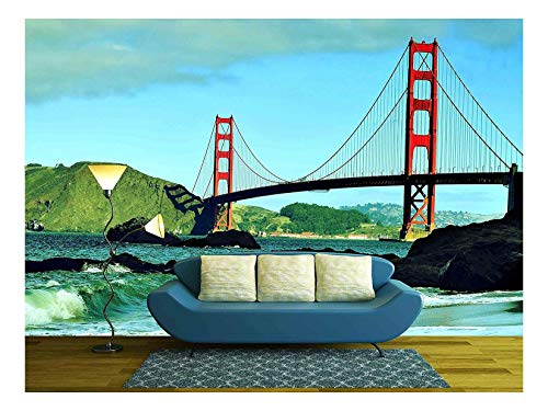 a View of Golden Gate Bridge from Baker Beach in San Francisco United States with a Retro Effect