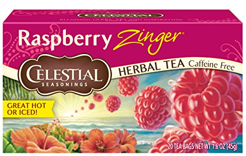 Raspberry Bags Tea - Celestial Seasonings Raspberry Zinger Herbal Tea, 20 Count (Pack of 6)