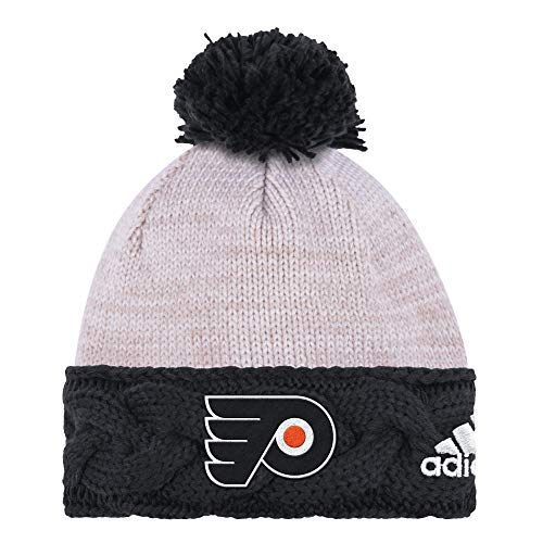 - adidas NHL Philadelphia Flyers Cuffed Knit Pom Hat, One Size, White