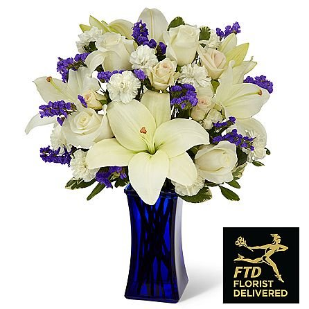 The Beyond Blue Bouquet with Same Day Flowers! Blooming Flowers - Fresh Flowers - Wedding Flowers Bouquets - Birthday Flowers - Send Flowers by topflowers