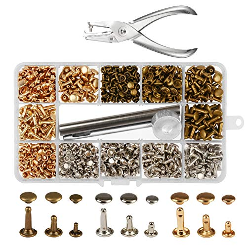 300 Sets 3 Sizes Leather Rivets LANMOK Double Cap Rivet Buttons Press Studs with Pliers and 3 Pieces Fixing Set Tools for Rivets Replacement DIY Craft Repairing Decoration by LANMOK