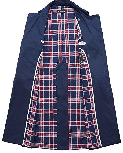Herren marineblau Traditional Zweireiher Langer Trenchcoat Baumwolle Military Regenmantel mac