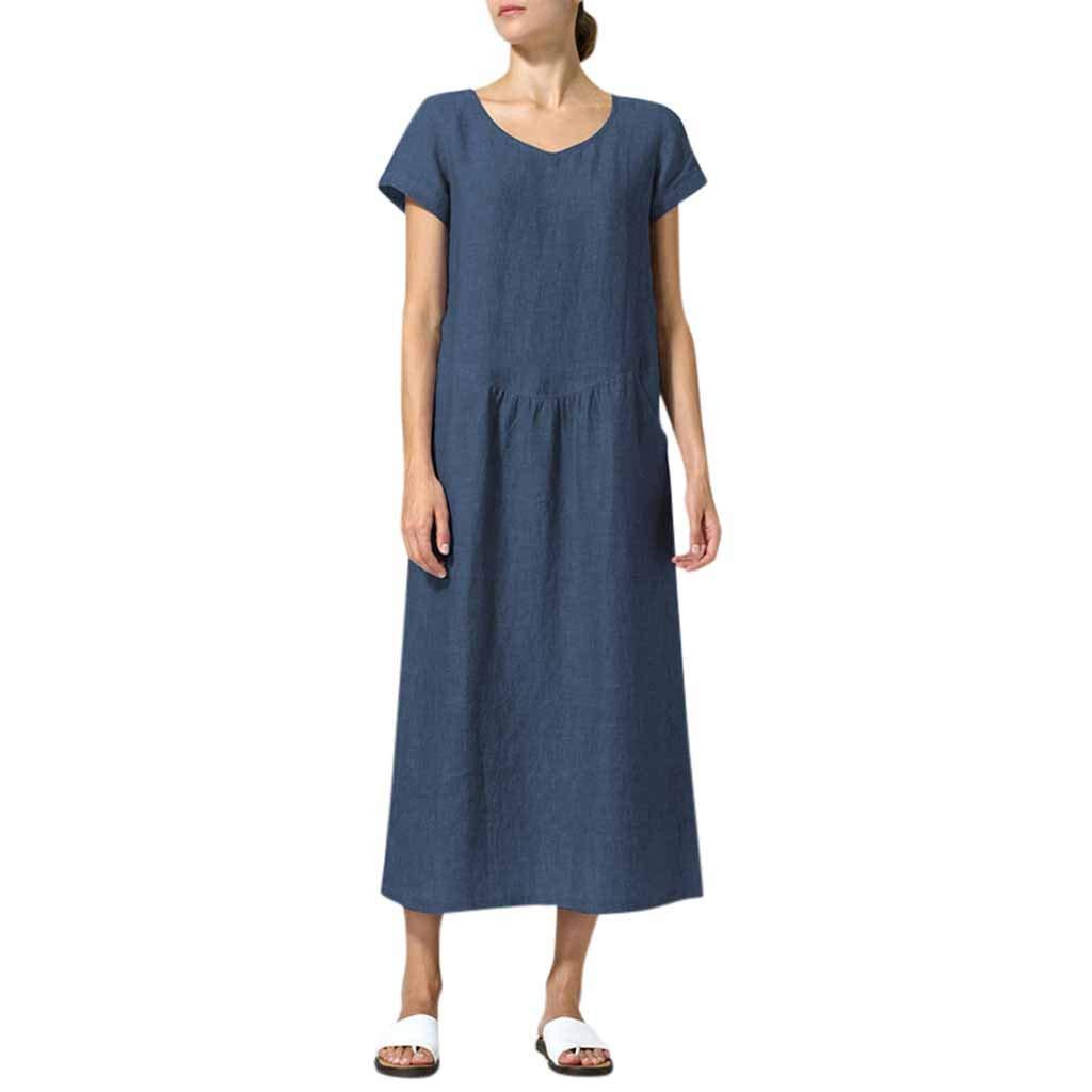 KUDICO Kleider Damen Kurzarm Lässig Maxikleid Solide Lose A-Linie Top Kleid Party Strandkleid Einfach Sommerkleider mit Tasche