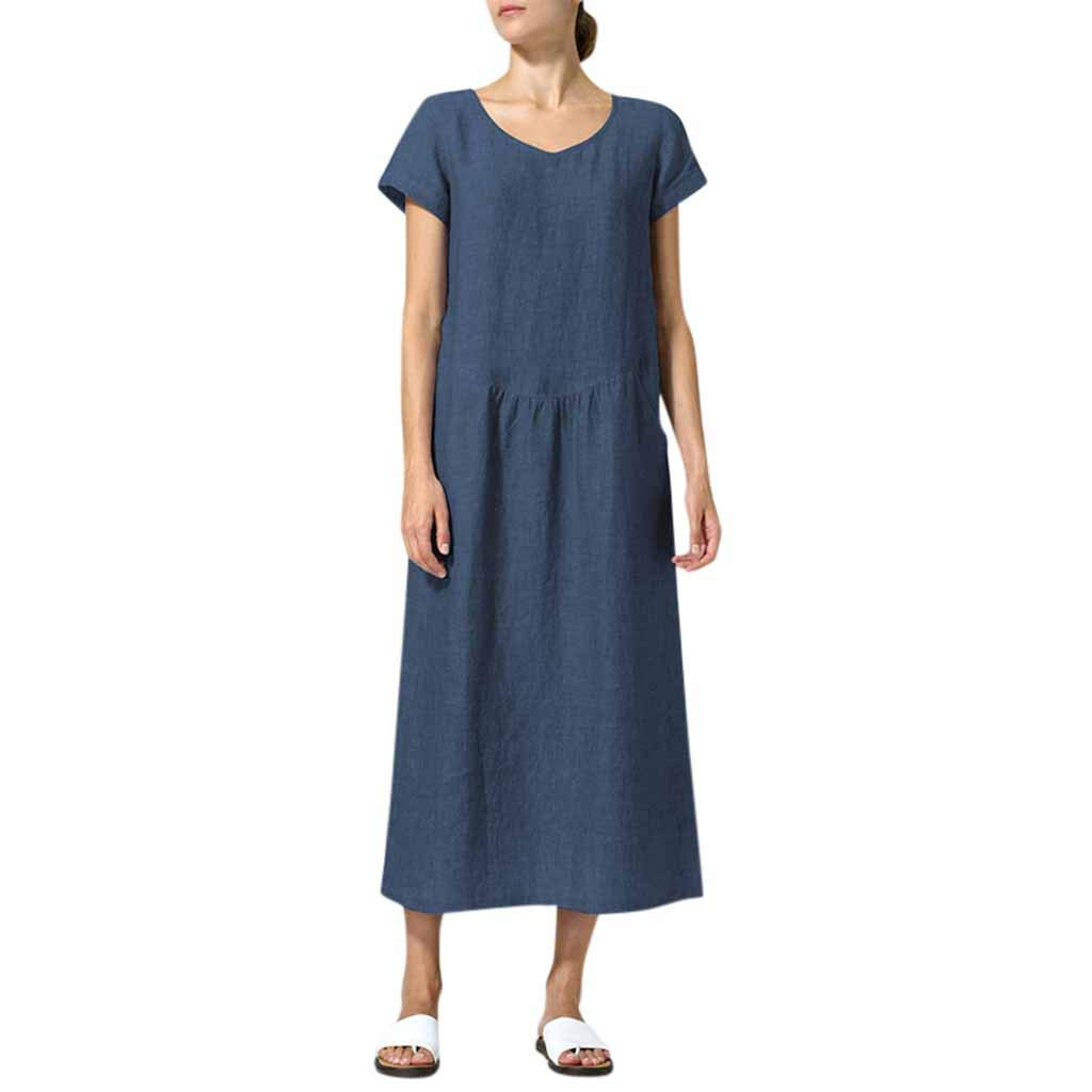 NRUTUP Summer Women's O-Neck Fashion Pure Colour Casual Simple Long Dresses with Pockets Loose Hot(Navy,XXXXL)