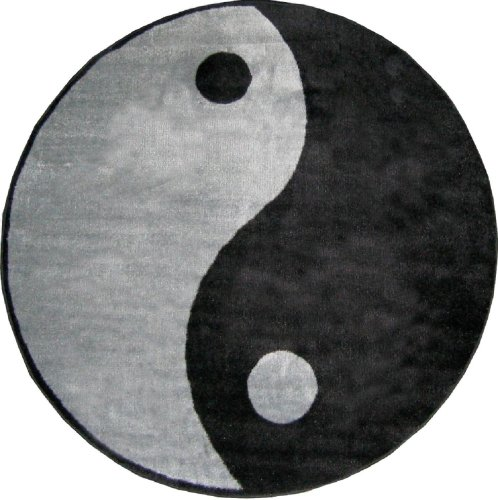 (Fun Rugs FTS-152 51RD Ying Yang Accent Rug, 51-Inch Round)