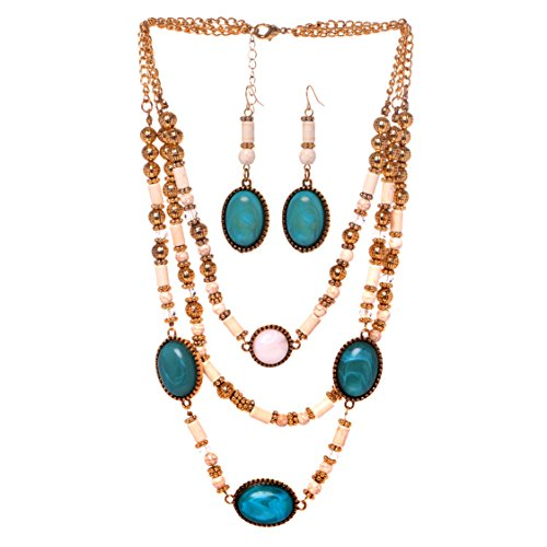 Veenajo Ladies Gold Tone Retro Dramatic Multilayer Oval Beads Necklace and Dangle Earrings Jewelry Set(blue)