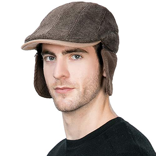 Mens Winter Hat with Ear Flaps Hats Hunting Wool Newsboy Cap Cold Weather Fitted Earflap Hat Ivy Flat Cap L XL SIGGI