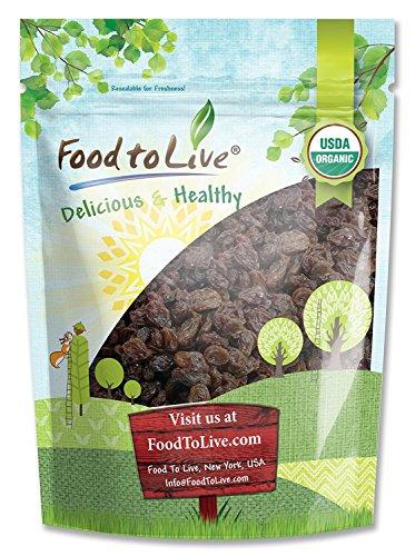 Organic California Thompson Seedless Raisins by Food To Live (Sun-Dried, Non-GMO, Kosher, Unsulphured, Bulk, Lightly Coated with Organic Sunflower Oil) - 8 Ounces