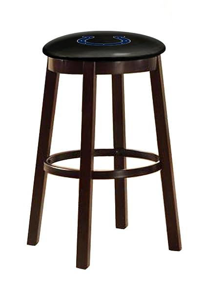 The Furniture Cove Espresso Wood And Metal Bar/Game Room Swivel Seat Bar  Stool 28u0026quot