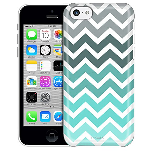 Apple iPhone 5C Case, Slim Fit Snap On Cover by Trek Chevron Grey Green Turquoise White Trans Case (Iphone 5c White Chevron Turquoise)
