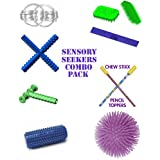 SENSORY SEEKERS COMBO PACK INCLUDES : CHEWY TUBES, THE ULTIMATE FIDGET RINGS, PUFFER BALL, DESK BUDDY, TACTILE ROLL, PENCIL TOPPERS, CHEW STIXX, TACTILE TIGER SENSORY BRUSH. FOR AUTISM, SPECIAL NEEDS FIDGETS, SENSORY INTEGRATION