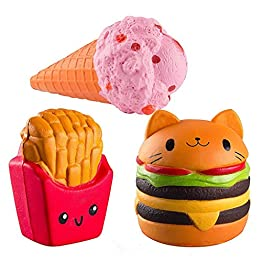 Fast Food Squishies | Cat Hamburger, Fries, Ice Cream Cone  | Slow Rising Jumbo Squishy Set 11