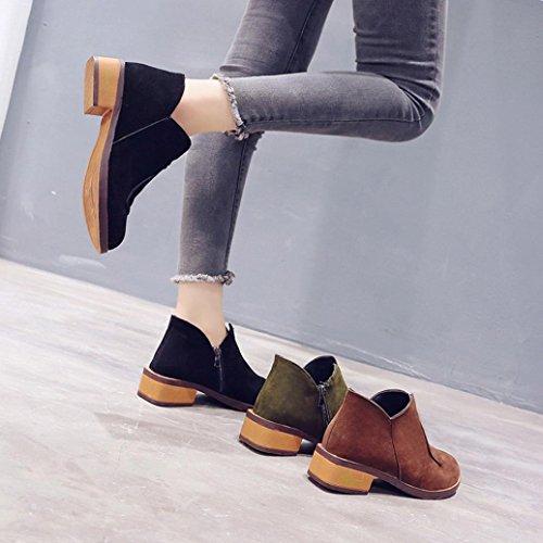 Vintage Shoes Ankle Boots Women Autumn Ladies Martin Roman Boots Flat Block Heel Leather Black Zip HLHN Hgq7RwxAO