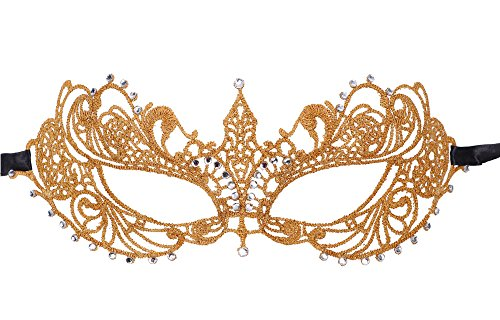 Women's Classic Goddess Venetian Masquerade Lace Eye Mask, Gold