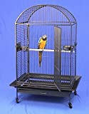 X Large DomeTop Wrought Iron Bird Parrot Cage, 36''x26''x64''H, Black Vein