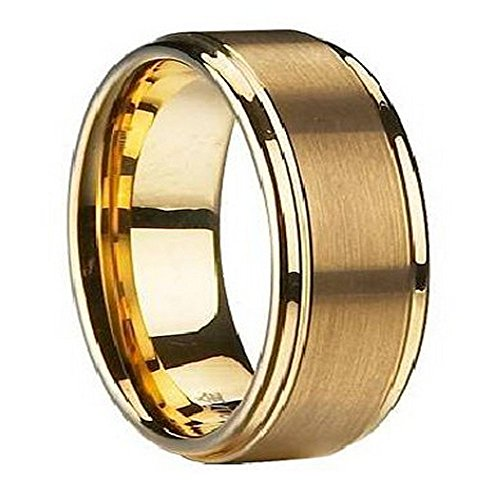 Gold-Plated Tungsten Satin-Finish Wedding Band with Polished Edges | 8mm Size... (Mens Satin Finish)