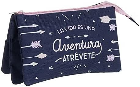"""Dcasa - Estuche 3 bolsillos """" La vida es una aventura """": Amazon.es: Hogar"""