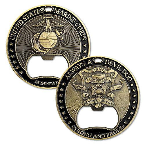 - United States Marine Corps Devil Dog Bottle Opener USMC Semper Fidelis Military Challenge Coin