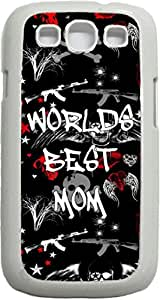 World's Best Mom-Punk Style- Case for the Samsung Galaxy S III-S3- Hard White Plastic Snap On Case by icecream design