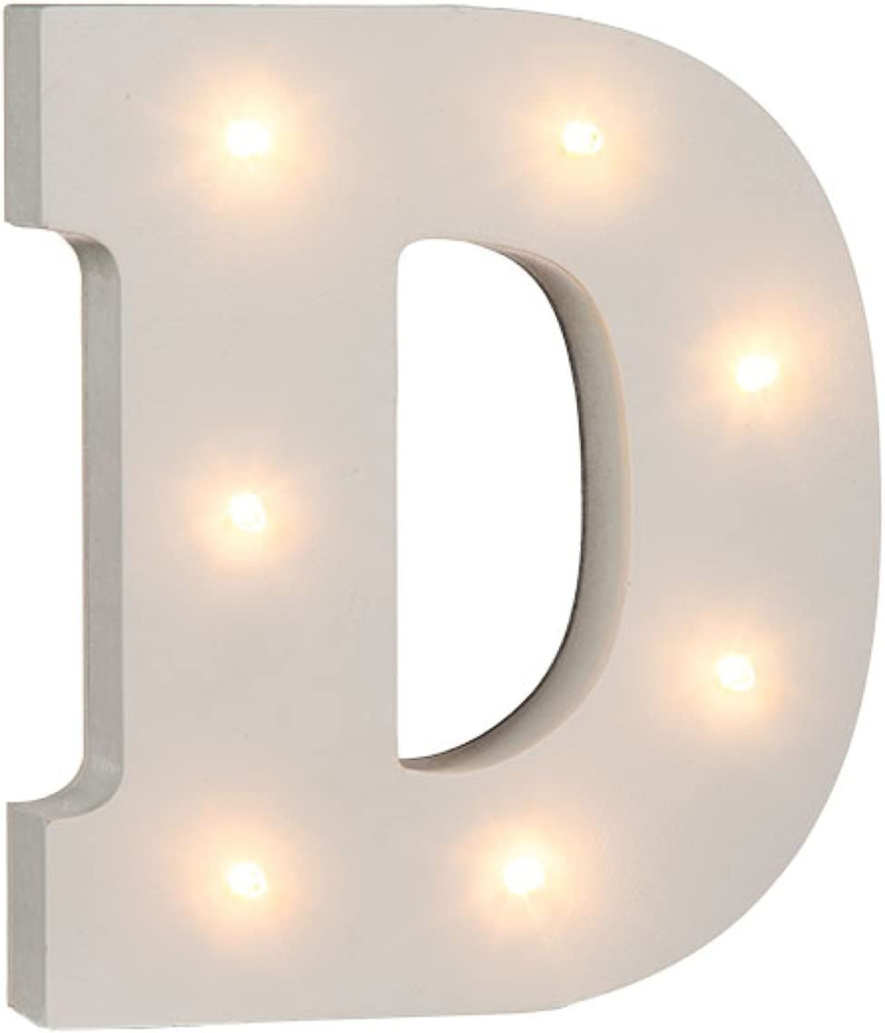 Ampersand /& 16 cm White Wooden Illuminated Letters and Numbers Complete Alphabet