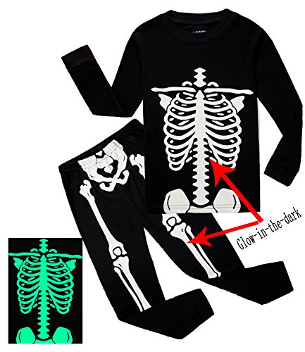 Family Feeling Little Boys Girls Golw-in-the-Dark Skeleton Halloween Costumes Pajamas Sets Long Sleeve Kids Toddler Pjs Size 4T