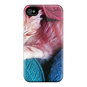 Sanp On Case Cover Protector For Iphone 4/4s (an Orange White Kitten With Yarn)