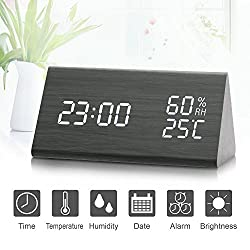 Wooden Digital Alarm Clock, LED Digital Clock with 3 Modes, Acoustic Control Clock with Time Temperature and Humidity, 3 Levels Adjustable Brightness