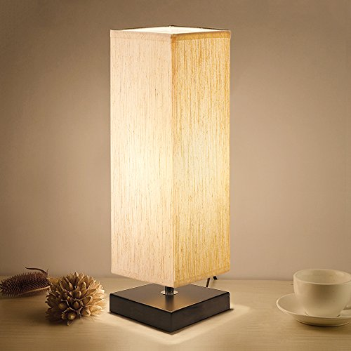 Bedside Table Lamp, Aooshine Minimalist Solid Wood Table Lamp Bedside Desk Lamp With Square Flaxen Fabric Shade for Bedroom, Dresser, Living Room, Kids Room, College Dorm, Coffee Table, (Dining Room Modern Dresser)